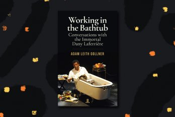 "The cover of ""Working in the Bathtub,"" which depicts the writer, Dany Laferrière, lying in a bathtub fully clothed."