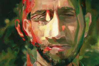 Illustrated layered portrait of Adnan Khan in greens and reds.