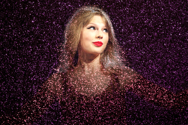 The artist Taylor Swift smiles and looks toward the top right of the frame. The image is covered in purple glitter, except for the area around Swift's face.