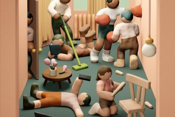 Artwork of half a dozen clay figures in an apartment room, performing various activities: assembling a chair, sweeping, looking at a cell phone, boxing with one another, and trying to enter the apartment.