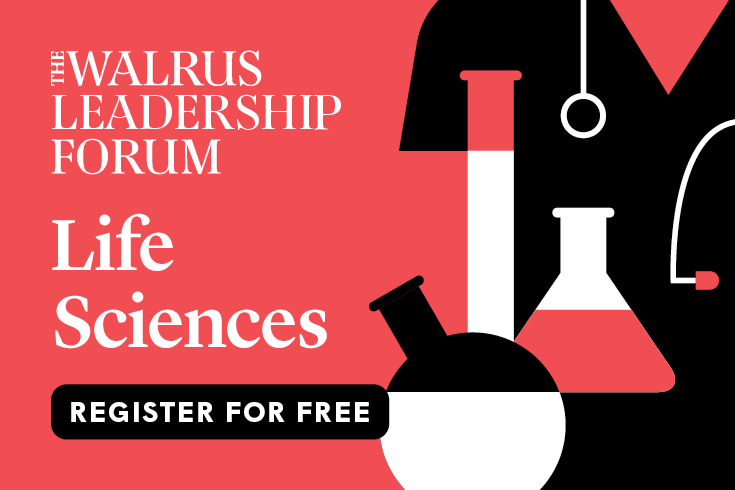"""The Walrus Leadership Forum on Life Sciences logo, with text reading """"Register for Free"""" and a pink, white, and black illustration of a doctor's torso behind three test tubes and beakers"""