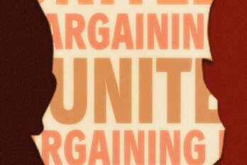 """Two silhouettes in front of text that reads """"united bargaining."""""""