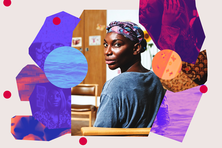 Photo collage of stills from the TV show I May Destroy You. In the center is the actress Michaela Coel, wearing a head wrap and looking over her shoulder at the viewer. She is surrounded by panels in purple, pink, blue and orange.