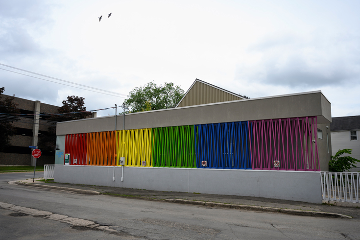 Photo of Clinic 554, which Edelman had partially painted in rainbow colours.