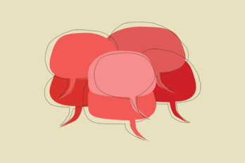 An illustration of a bunch of red speech bubbles on a pale yellow background.