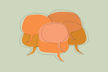 An illustration of a bunch of orange speech bubbles on a green background.