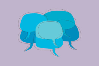 An illustration of a bunch of blue speech bubbles on a violet background.