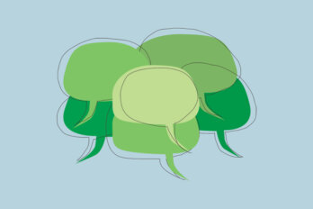 An illustration of a bunch of green speech bubbles on a pale blue background.