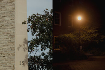 A composite image: on the left, a university building with greenery and a blue sky. On the right, a dark campus with a streetlight in the middle.