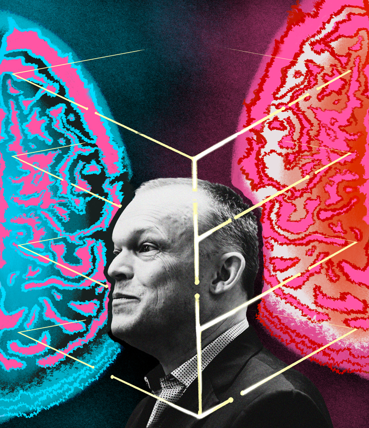A grayscale image of neuroscientist Sean Hill superimposed atop neon blue and neon pink illustration of the human brain