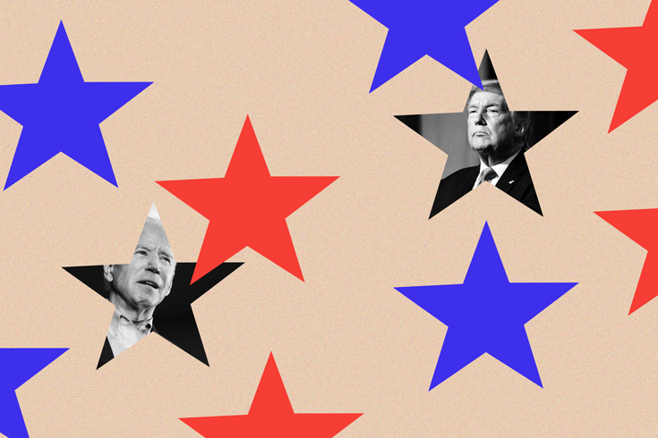 Several stars on a peach background. Half of the stars are blue; the other half are red. One star each contains a black-and-white image of Joe Biden and Donald Trump.
