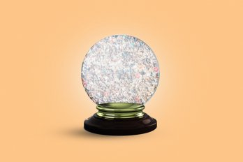A crystal ball filled with people.