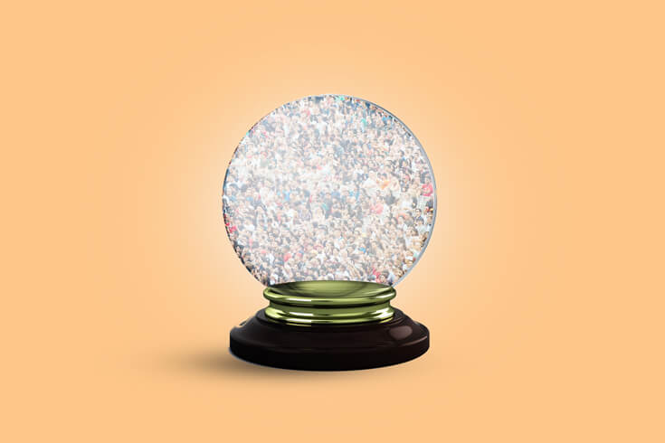 crystal ball with a crowd inside of it