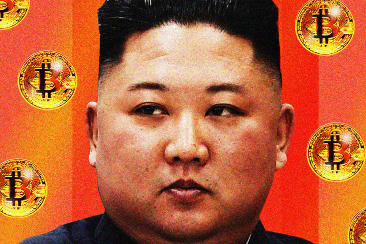 An illustration with bitcoin and Kim Jong-un