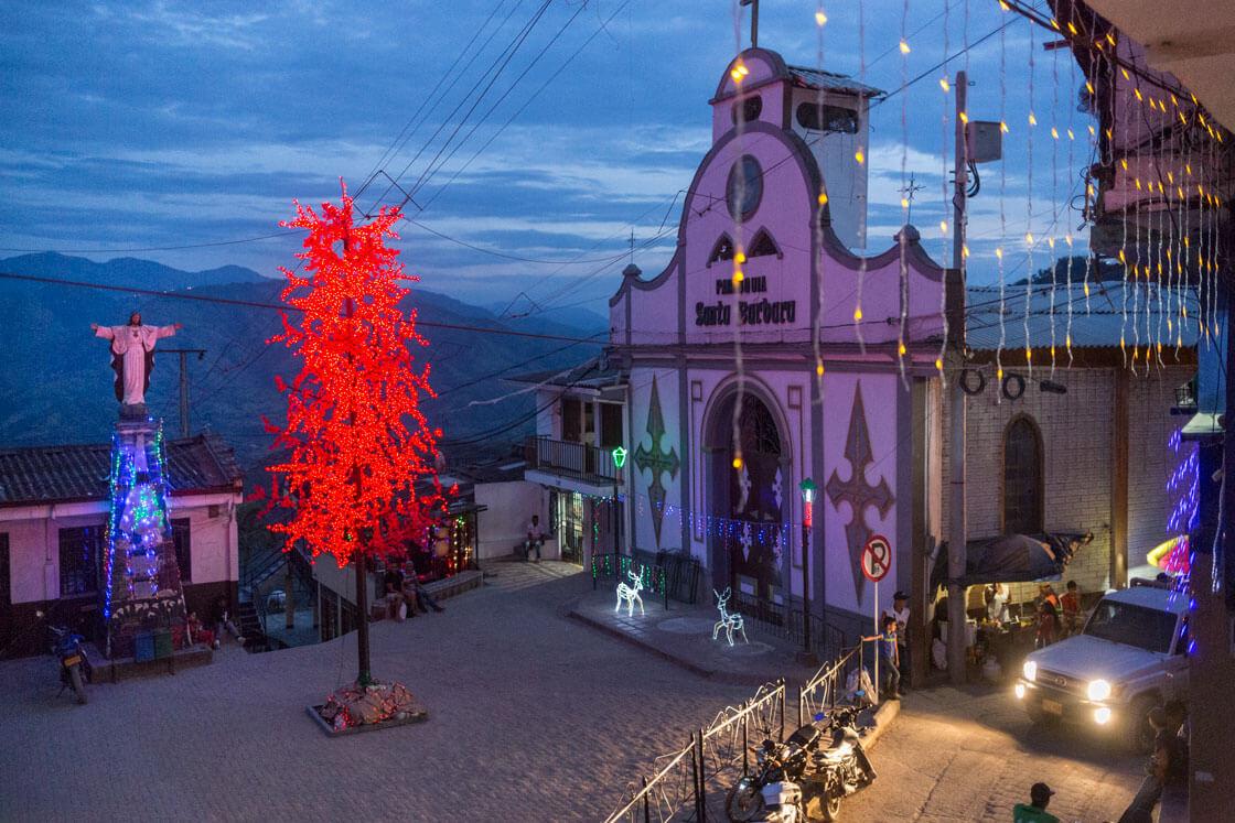 An artificial maple tree adorns Marmato's town square.
