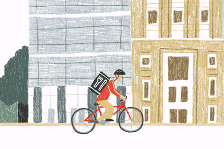 animation of a man riding a bike through toronto