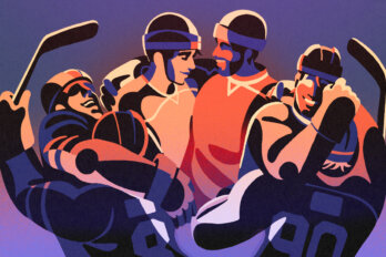 Illustration of three pairs of hockey players in full gear, embracing one another and smiling.