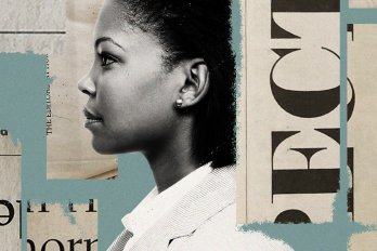 Photo illustration of a Black woman in profile against a blue background. She is surrounded by strips of newspaper with bits of text printed on them.