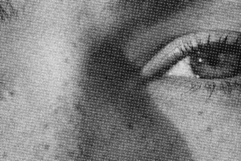 A close-up of a woman's eye and nose bridge, styled in black and white and lightly pixellated.