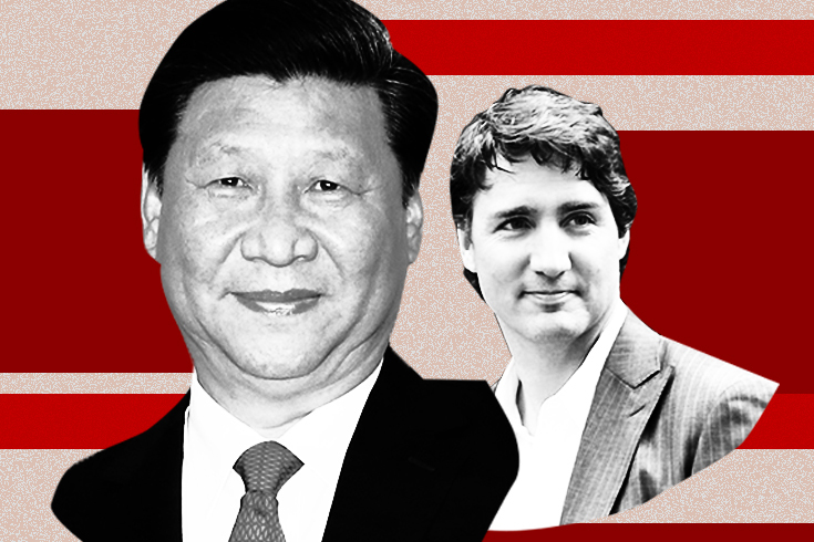 A photograph of Xi Jinping in the foreground and a smaller photo of Justin Trudeau in the background, both in black and white. The background is a series of lateral red stripes.