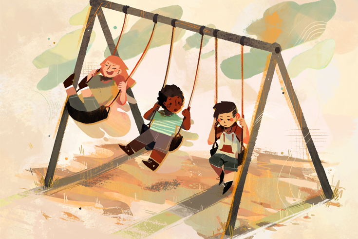 Illustration of three children on a swingset. The child on the far right looks sad and isn't swinging.