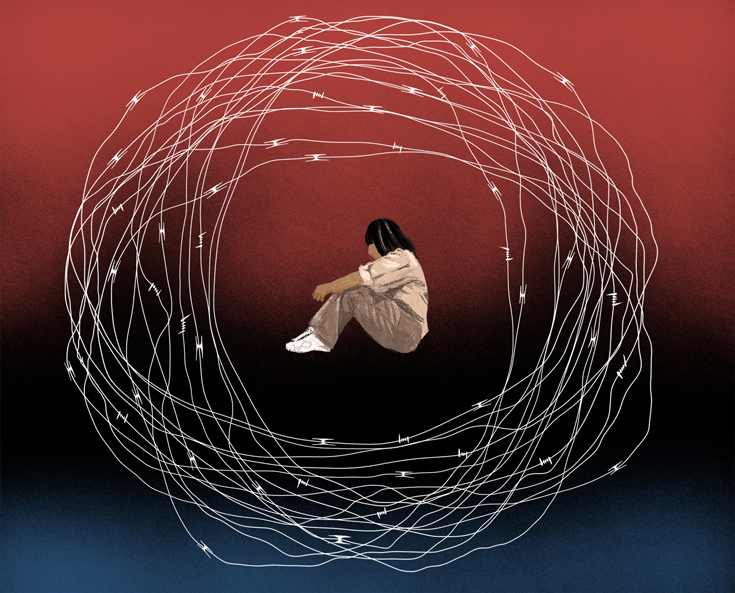 Illustration of a woman in prison dress, with her knees to her chest and her arms curled around them. Surrounding her is a series of circles that look composed of barbed wire. The background is red and black.