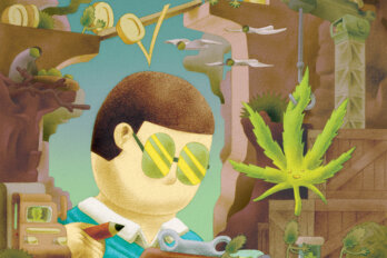 Illustration of a man surrounded by cannabis paraphernalia makes calculations on a clipboard.