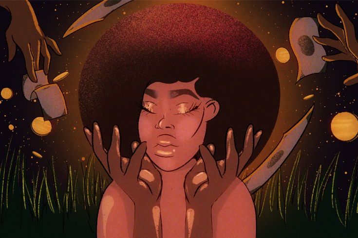 Illustration of a Black woman with an afro and her eyes closed and her hands held palms-up around her face. In the background are hands passing money toward her.