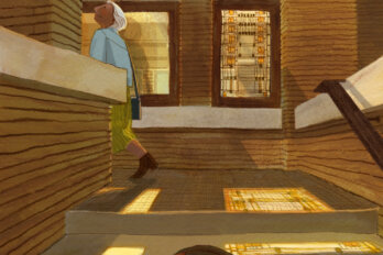 An illustration where, in the background, a woman walks into a house, her head tilted up. In the foreground, at the bottom of the front steps, her daughter looks towards her mother. The house has stained glass windows and light pours out from them onto the steps.