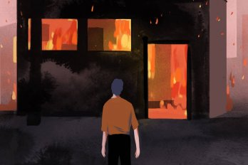 An illustration of a man standing in front of a burning building