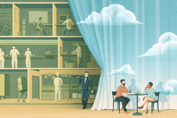 Illustration of a couple sitting at a restaurant table in front of a blue sky–printed curtain. The curtain is slightly pulled back as a waiter emerges; behind it is the inner workings of a restaurant kitchen.