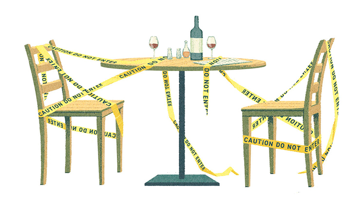 Illustration of two empty chairs at a table, wrapped in caution tape. On the table are two glasses and a wine bottle.