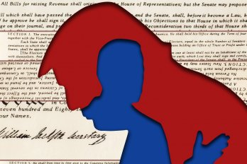 A red silhouette of Donald Trump in profile against the text of the US Constitution. Within Trump's red silhouette is a smaller, blue silhouette of Joe Biden.