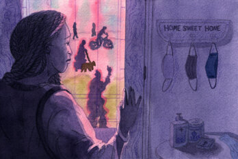 An illustration of a woman staring out from a window