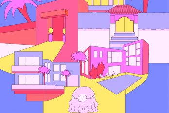 Illustration of a woman sitting in front of a TV, snacking on popcorn. Several Los Angeles mansions are growing out of the TV, extending beyond its borders and styled in pink, purple and yellow tones.