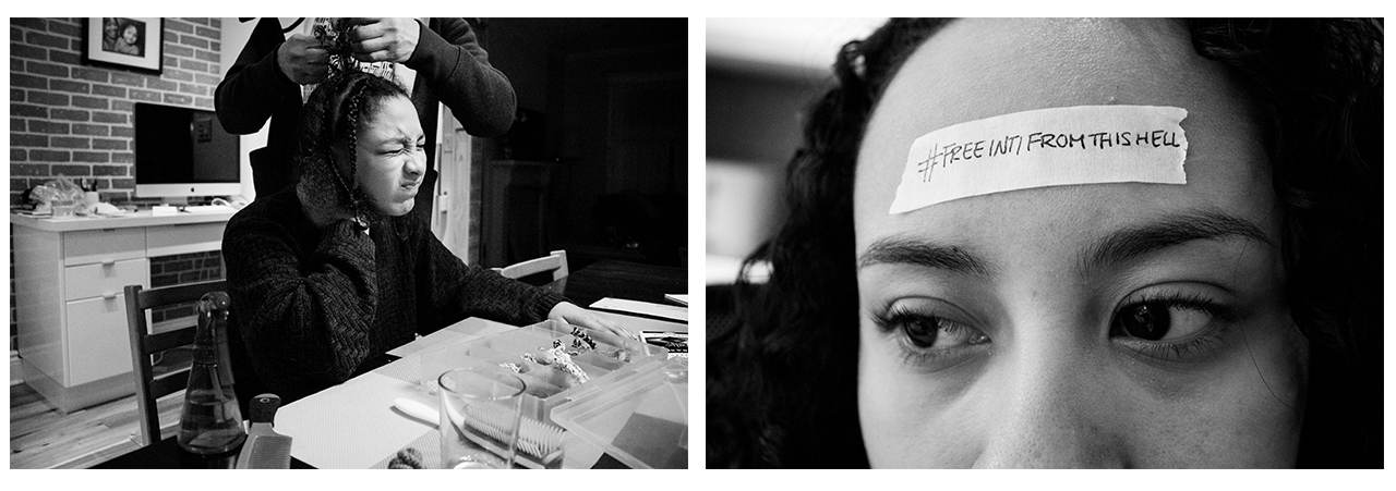 Dania getting her hair styled; Inti with a #freeIntifromthishell sticker on her forehead