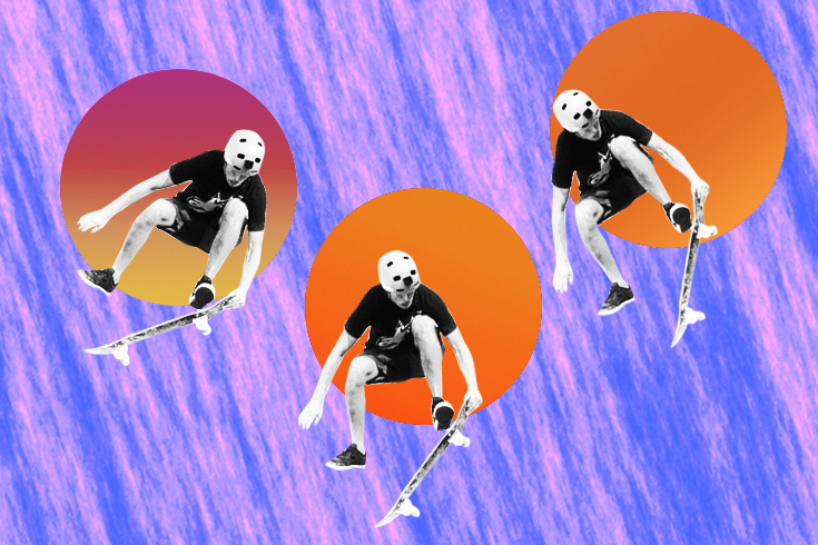 Illustration of a skateboarder in three poses, each against a bright orange square. The background is purple and pink striped.