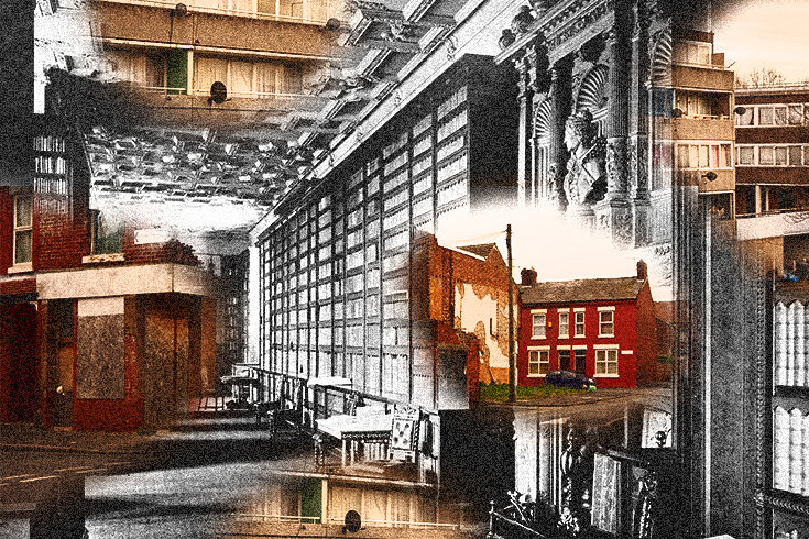 A photo of red brick buildings and apartments superimposed onto another black and white image of an old interior.