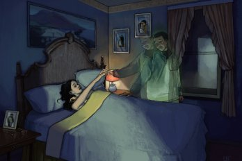 Illustration of a woman lying in bed in a dark room, reaching out to touch the ghost of a man standing beside it and smiling down at her. His image is two translucent poses overlaid for a ghostly effect.