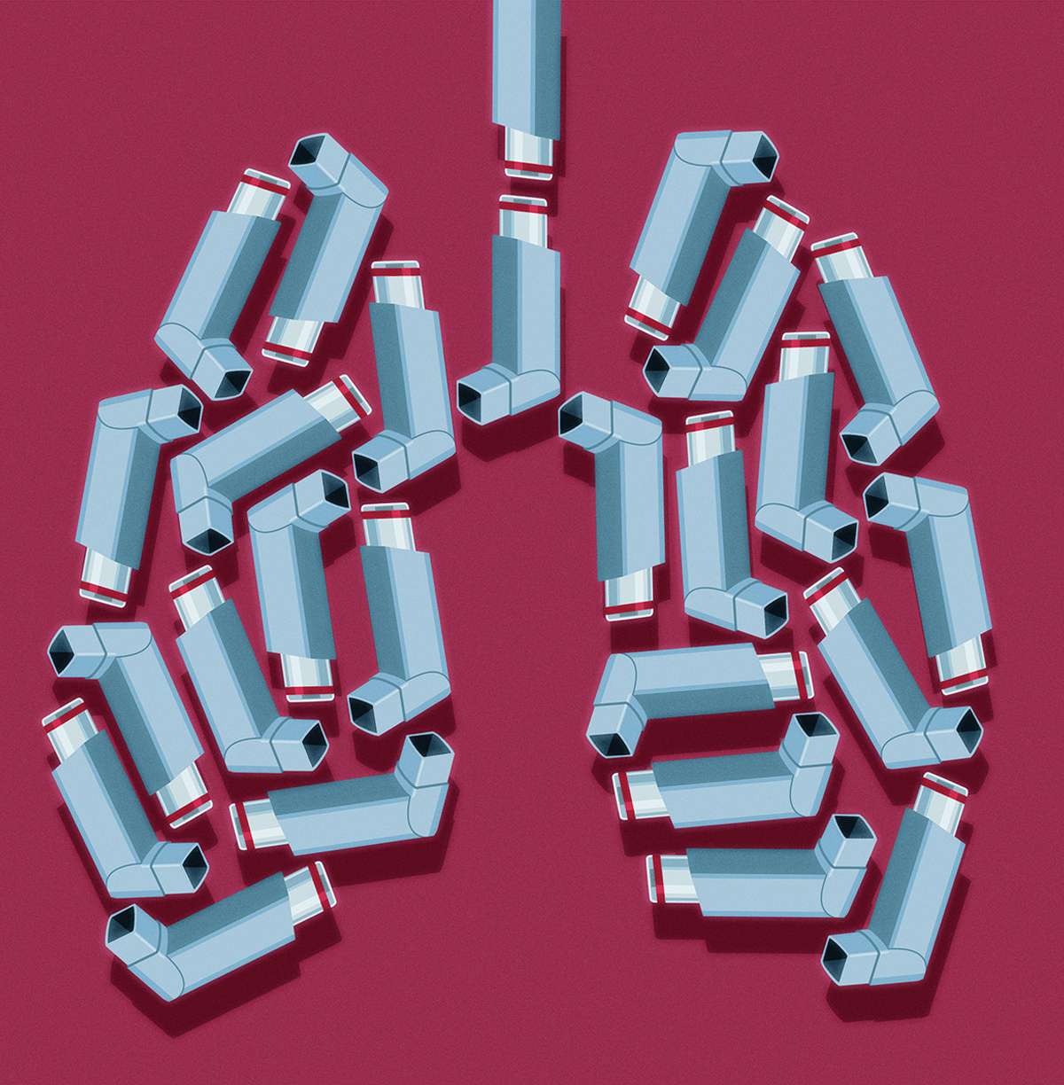 Illustration of a pair of lungs comprised of mini inhalers.
