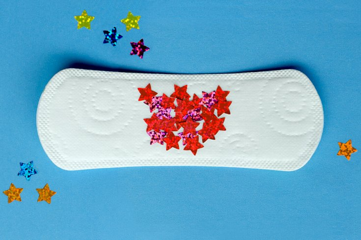sanitary pad with red stars on it
