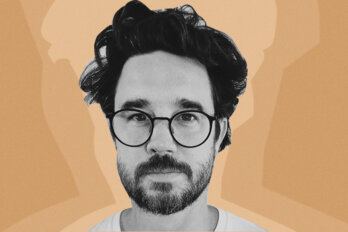 Black and white photo of poet Matt Rader superimposed on an orange background.