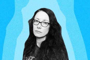 A photo of the poet, Roxanna Bennett, who has dark straight hair and glasses. The background is bright blue and the photo of the poet is black and white.