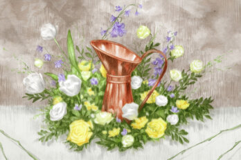 Illustration of a copper jug amidst yellow and white and purple flowers.