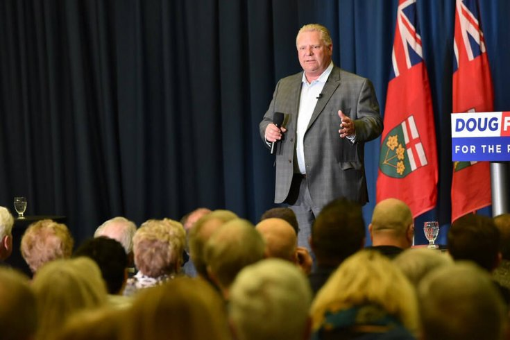 Rob Ford speaks to a crowd while running for premier
