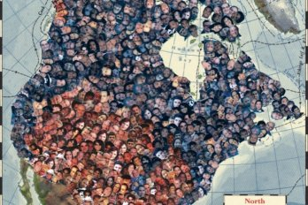 series of faces superimposed on a map