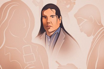 Illustration of a long-haired man with a blue shirt and suit jacket. Around him are silhouettes of journalists who are not acknowledging his presence.