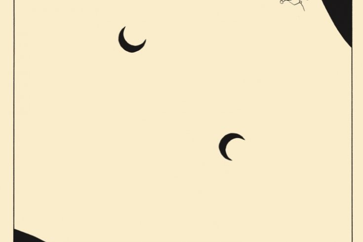 two moons on a pale yellow sheet
