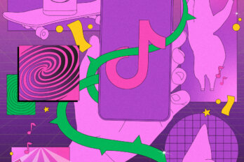 An illustration on a primarily purple background of the TikTok logo on a phone being held by a purple hand.