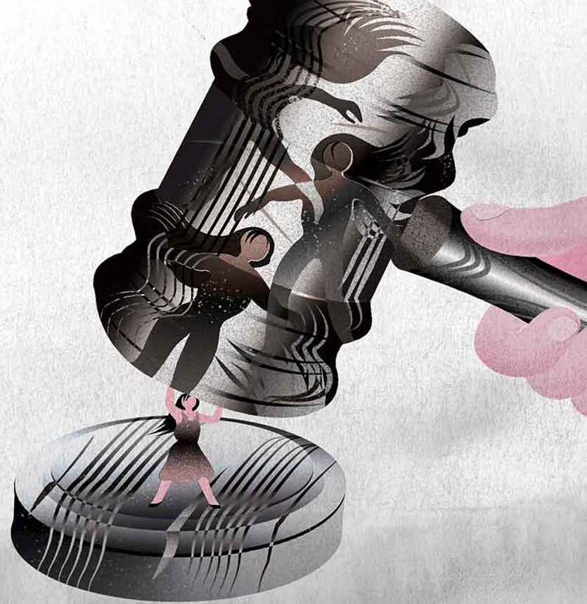 Illustration with a gavel by Jenn Liv.